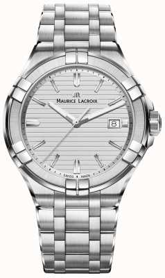 Maurice Lacroix Mens aikon aço inoxidável quartzo mostrador prateado AI1008-SS002-131-1