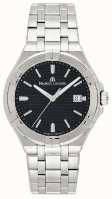 Maurice Lacroix Mens aikon pulseira de aço inoxidável mostrador preto AI1008-SS002-331-1