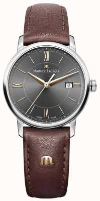 Maurice Lacroix Womens eliros pulseira de couro marrom mostrador preto acentos de ouro EL1094-SS001-311-1