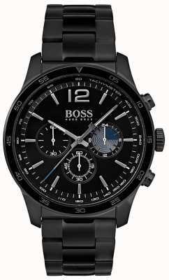 Hugo Boss Mens profissional relógio cronógrafo de ferro banhado a pulseira 1513528