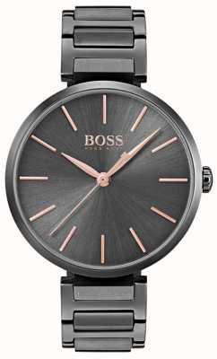 Boss Relógio de alusão das mulheres de ferro chapeado de aço preto 1502416
