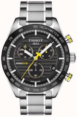 Tissot Mens prs 516 cronógrafo preto mostrador pulseira de aço inoxidável T1004171105100