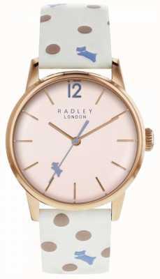 Radley Womens vintage dog dot watch mostrador rosa RY2566