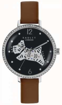 Radley Womens folk dog watch pulseira de couro marrom mostrador preto RY2585