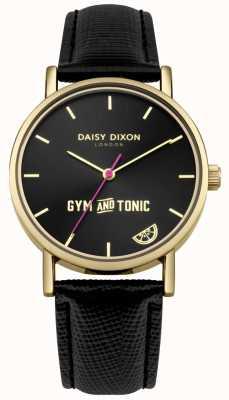Daisy Dixon Womens ginásio e tônico blaire pulseira de couro preto mostrador preto DD079BG
