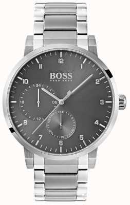 Hugo Boss Mens oxigênio relógio cinza pulseira de aço inoxidável sunray dial 1513596