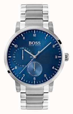 Hugo Boss Mens oxigênio relógio azul pulseira de aço inoxidável sunray dial 1513597
