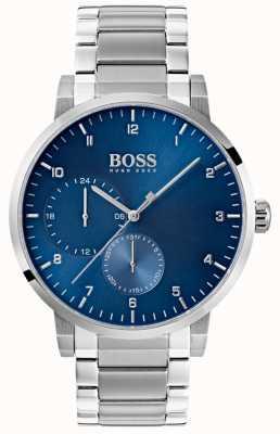 Boss Mens oxigênio relógio azul pulseira de aço inoxidável sunray dial 1513597