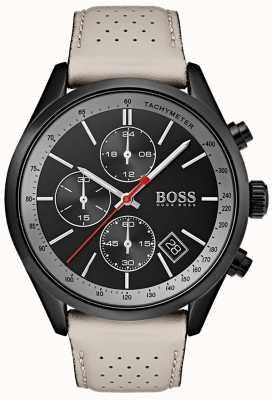 BOSS Relógio grand-prix de homem, cronógrafo preto, pulseira de couro cinza 1513562