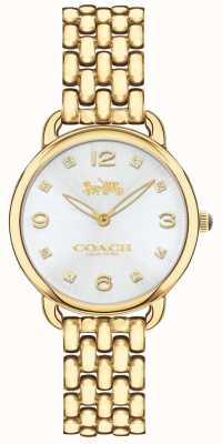 Coach Mulheres delancey slim tom de ouro pulseira relógio mostrador prateado 14502782