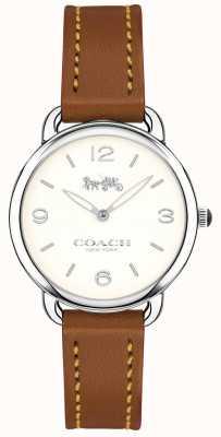 Coach Mulheres delancey magro pulseira de couro marrom relógio mostrador branco 14502789