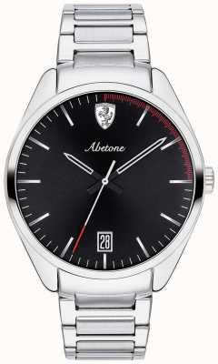Scuderia Ferrari Mens abetone pulseira de aço inoxidável assistir mostrador preto 0830502