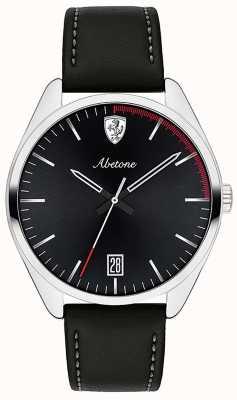 Scuderia Ferrari Mens abetone pulseira de couro preto assistir mostrador preto 0830501