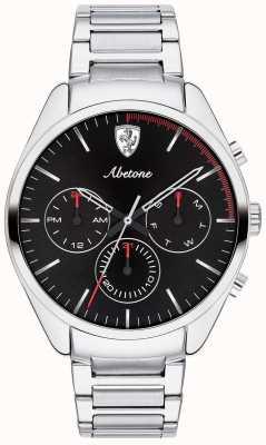 Scuderia Ferrari Mens abetone pulseira de aço inoxidável relógio preto chrono 0830505
