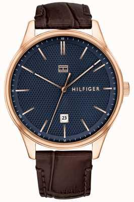 Tommy Hilfiger Mens damon assistir pulseira de couro marrom mostrador azul 1791493