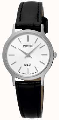 Seiko Relógio de pulseira de couro preto solar para mulher SUP299P1
