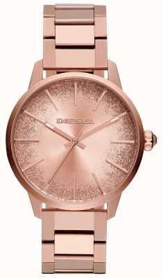 Diesel Mulheres castilla rosa pulseira de tom de ouro relógio de discagem glitter DZ5567