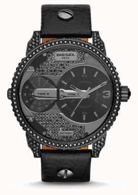 Diesel Mens mini daddy pulseira de couro preto relógio DZ7328