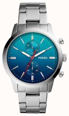 Fossil Mens townsman assistir azul ombre dial pulseira de aço inoxidável FS5434