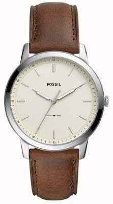 Fossil Mens o relógio de pulseira de couro marrom minimalista FS5439