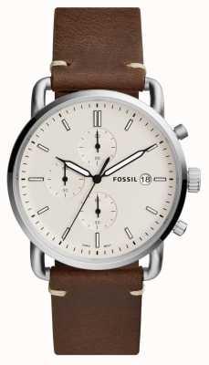 Fossil Mens commuter watch pulseira de couro marrom branco cronógrafo FS5402