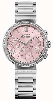 Boss Pulseira de aço inoxidável moldura de cristal de discagem rosa 1502401