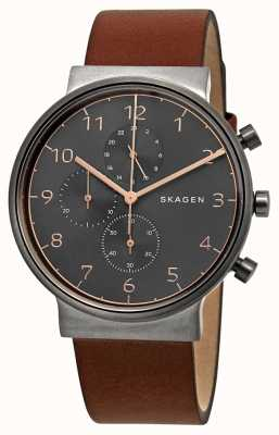 Skagen Mens ancher cronógrafo mostrador preto pulseira de couro marrom SKW6418