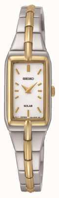 Seiko Retângulo solar feminino discar dois pulseira de tom SUP272P9