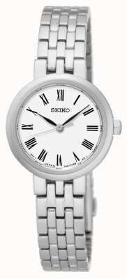 Seiko Mostrador branco numerais romanos pulseira de aço inoxidável SRZ461P1