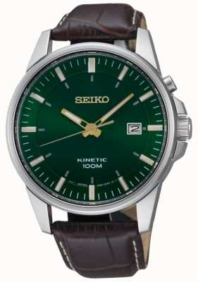 Seiko Data de discagem verde cinética masculina exibir pulseira de couro marrom SKA753P1