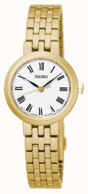 Seiko Quartzo dos homens branco mostrador romano numerais amarelo pulseira de ouro SRZ464P1