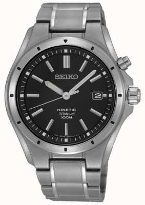 Seiko Mostrador de data de discagem de titânio preto masculino SKA763P1