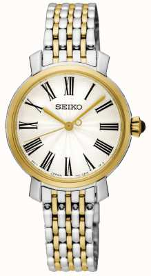Seiko Numerais romanos caso de ouro dois tom pulseira de aço inoxidável SRZ496P1