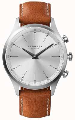 Kronaby 41mm sekel prata mostrador pulseira de couro marrom A1000-3125