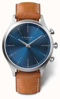 Kronaby 41mm sekel azul mostrador pulseira de couro marrom a1000-3124 S3124/1