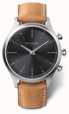 Kronaby 41mm sekel pulseira preta de couro marrom A1000-3123