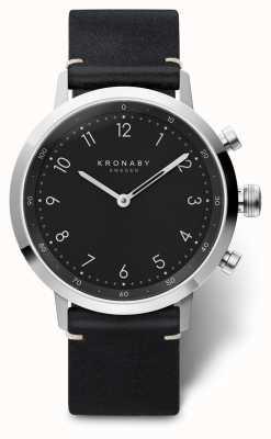 Kronaby Estojo de aço inoxidável nord black leather strap 41mm A1000-3126