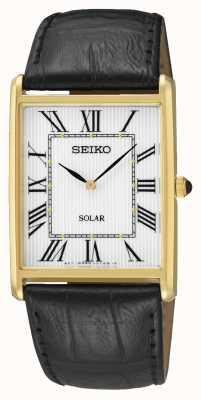 Seiko Retângulo masculino dial algarismos romanos caso de ouro SUP880P1
