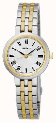 Seiko Mostrador branco algarismos romanos pulseira de dois tons e caso SRZ462P1