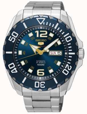 Seiko Data do esporte de 5 homens & dia mostre o seletor azul de aço inoxidável SRPB37K1