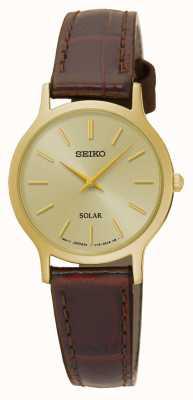 Seiko Dial de ouro solar e pulseira de couro marrom caso SUP302P1