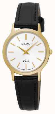 Seiko Solar mostrador branco ouro amarelo aço inoxidável couro preto SUP300P1