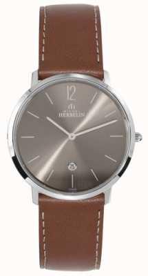 Michel Herbelin Homens de aço inoxidável ikone cinza escuro mostrador tan strap 19515/27GO