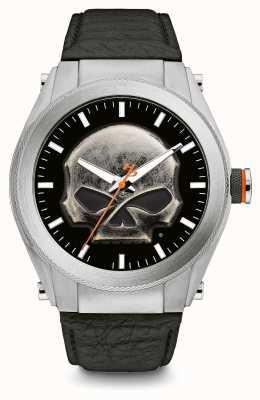 Harley Davidson Heavy metal crânio dial caso grosso pulseira de couro preto 76A156