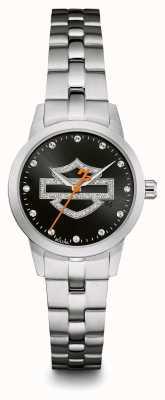 Harley Davidson Bracelete em aço inoxidável com mostrador preto 76L182