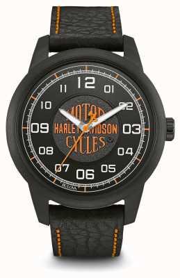 Harley Davidson Logo impressão black dial ip plated case pulseira de couro preto 78A116