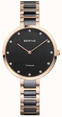 Bering Dial de conjunto de cristal de titânio rosa e ouro preto 11334-762