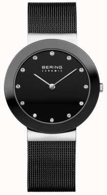 Bering Cristal conjunto dial pulseira de malha preta moldura de malha 11435-102