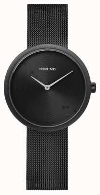 Bering Bracelete em malha preta fosca clássica 14333-222