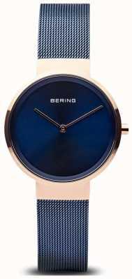 Bering Mostrador azul clássico das mulheres subiu de ouro caso azul ip chapeado malha 14531-367